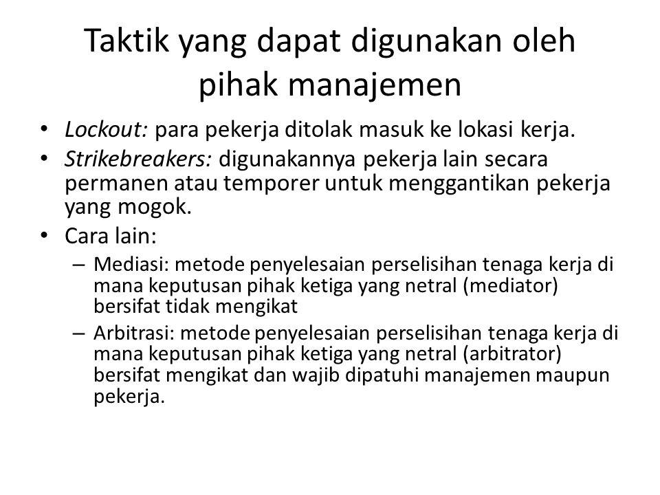 Taktik yang dapat digunakan oleh pihak manajemen
