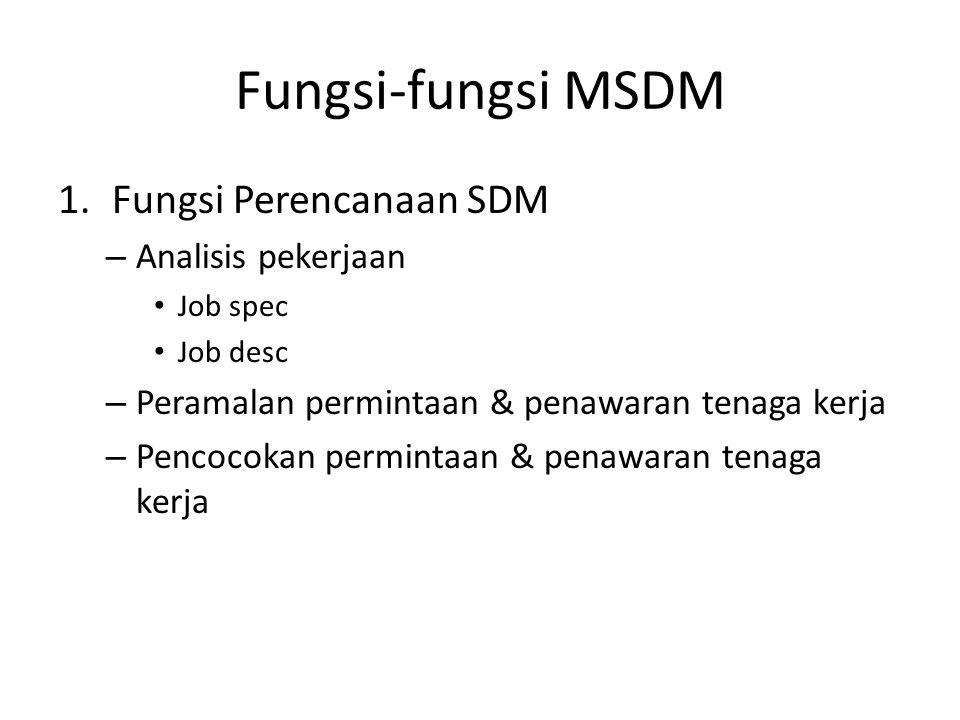 Fungsi-fungsi MSDM Fungsi Perencanaan SDM Analisis pekerjaan
