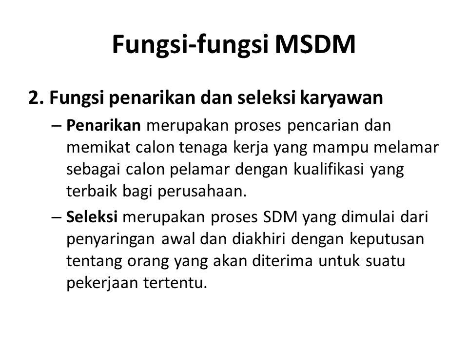 Fungsi-fungsi MSDM 2. Fungsi penarikan dan seleksi karyawan