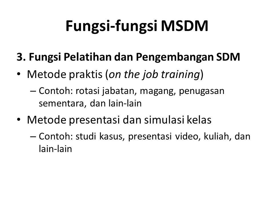 Fungsi-fungsi MSDM 3. Fungsi Pelatihan dan Pengembangan SDM