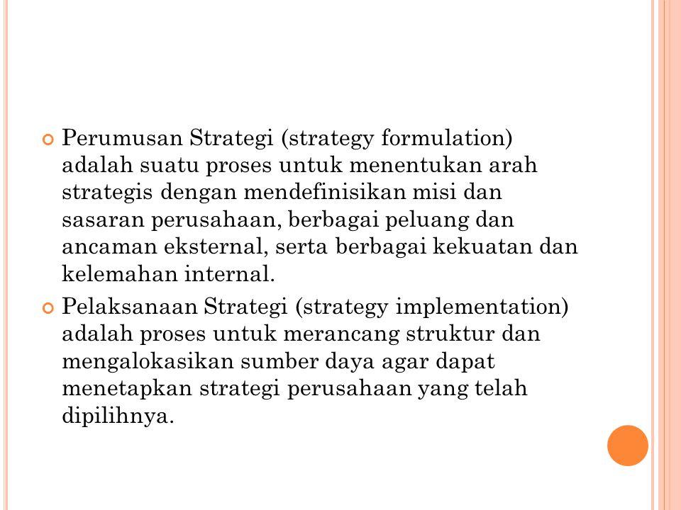Perumusan Strategi (strategy formulation) adalah suatu proses untuk menentukan arah strategis dengan mendefinisikan misi dan sasaran perusahaan, berbagai peluang dan ancaman eksternal, serta berbagai kekuatan dan kelemahan internal.