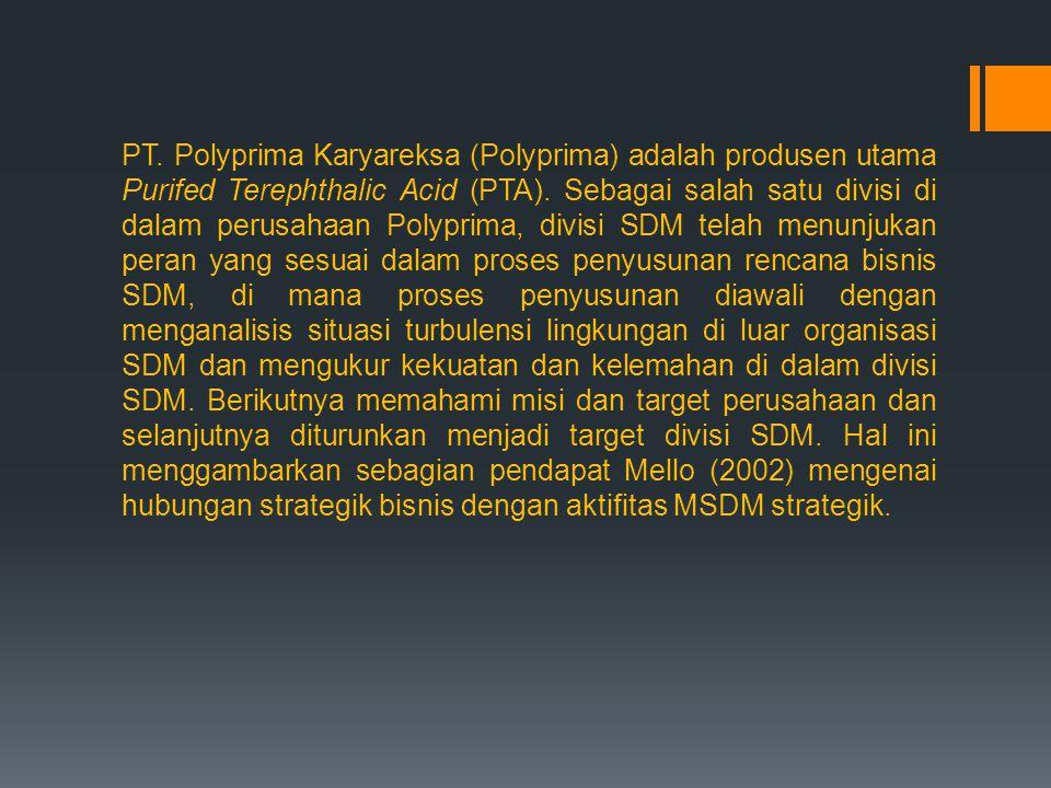 PT. Polyprima Karyareksa (Polyprima) adalah produsen utama Purifed Terephthalic Acid (PTA).