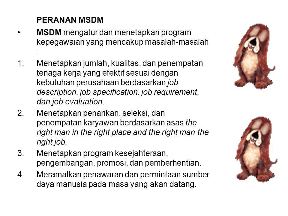 PERANAN MSDM MSDM mengatur dan menetapkan program kepegawaian yang mencakup masalah-masalah :