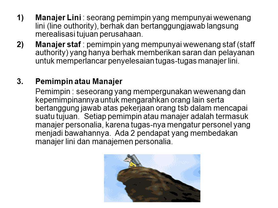 Manajer Lini : seorang pemimpin yang mempunyai wewenang lini (line outhority), berhak dan bertanggungjawab langsung merealisasi tujuan perusahaan.