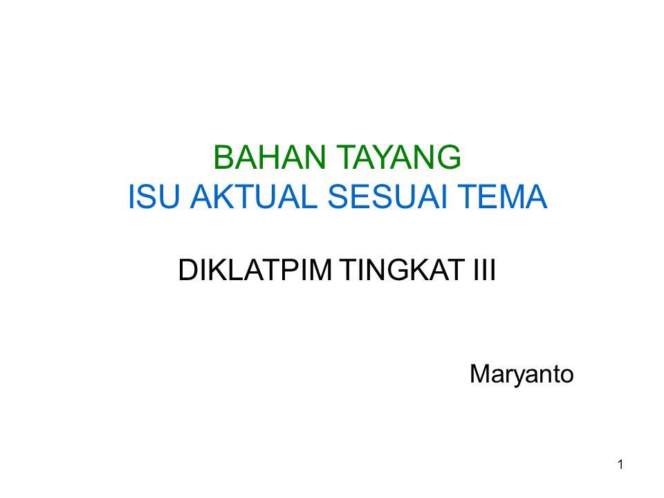 BAHAN TAYANG ISU AKTUAL SESUAI TEMA DIKLATPIM TINGKAT III Maryanto