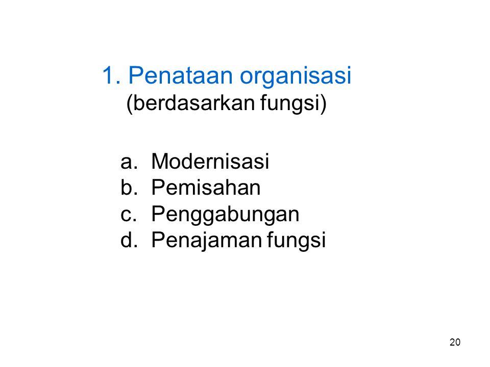 1. Penataan organisasi (berdasarkan fungsi) Modernisasi Pemisahan