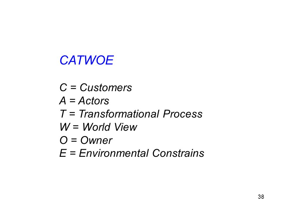 CATWOE C = Customers A = Actors T = Transformational Process