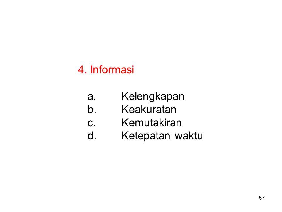 4. Informasi Kelengkapan Keakuratan Kemutakiran Ketepatan waktu