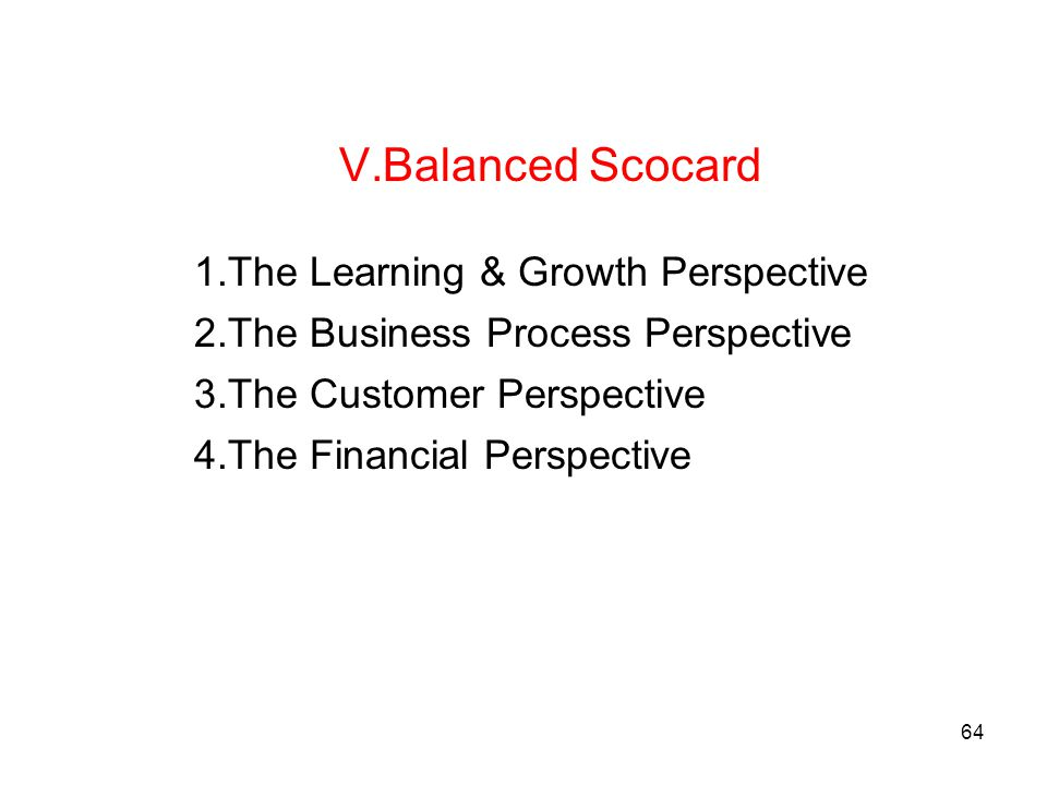 Balanced Scocard The Learning & Growth Perspective