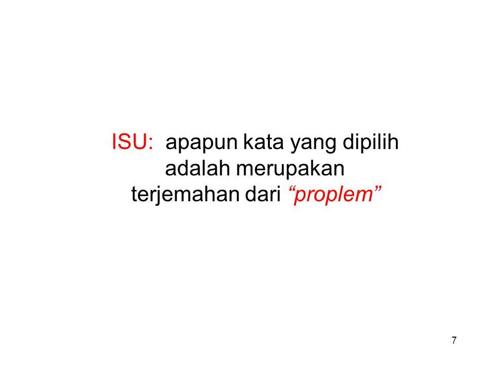 ISU: apapun kata yang dipilih adalah merupakan terjemahan dari proplem