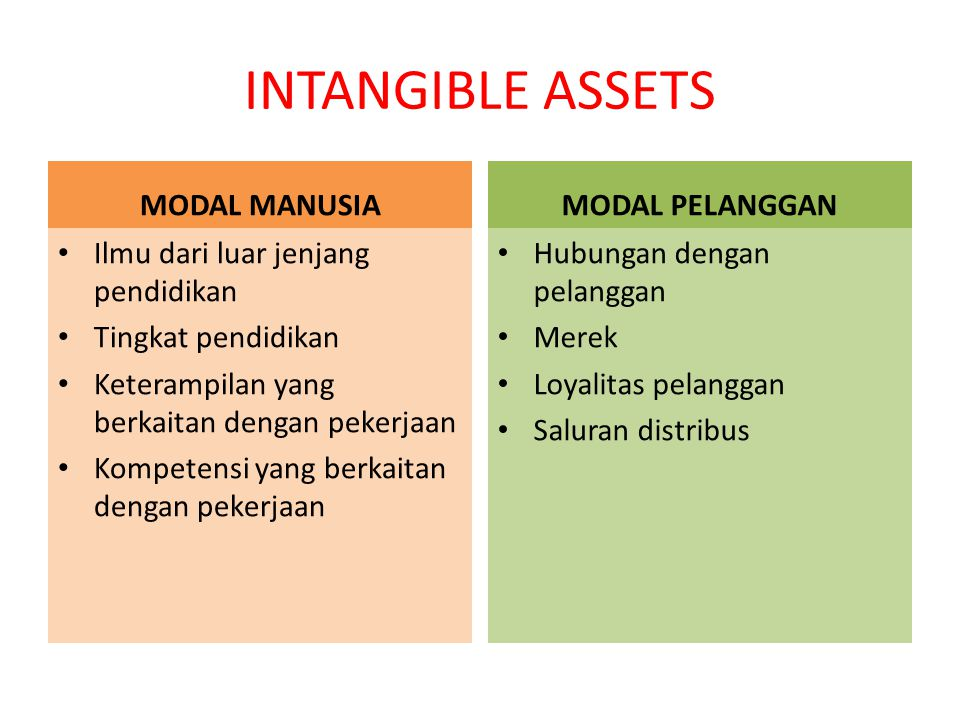 INTANGIBLE ASSETS MODAL MANUSIA MODAL PELANGGAN