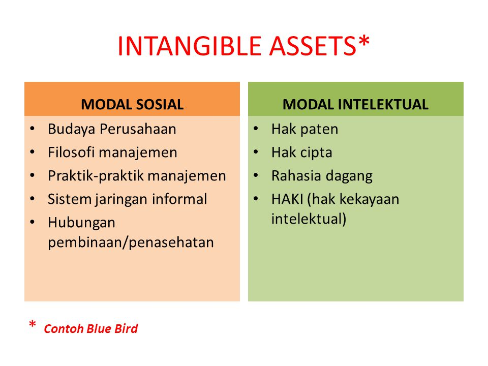 INTANGIBLE ASSETS* * Contoh Blue Bird MODAL SOSIAL MODAL INTELEKTUAL