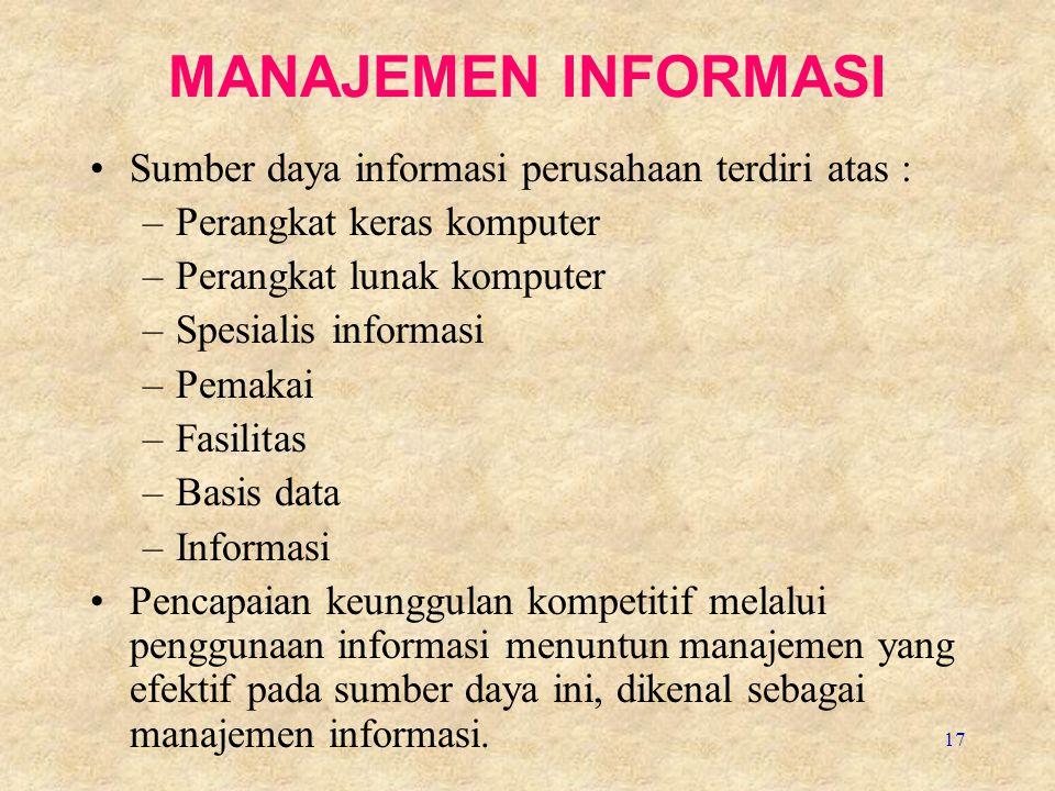 MANAJEMEN INFORMASI Sumber daya informasi perusahaan terdiri atas :