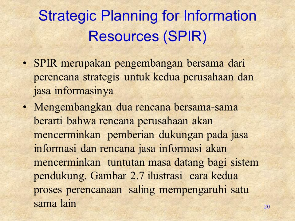Strategic Planning for Information Resources (SPIR)