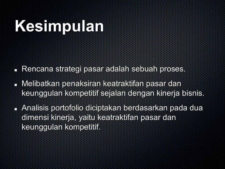 Kesimpulan Rencana strategi pasar adalah sebuah proses.