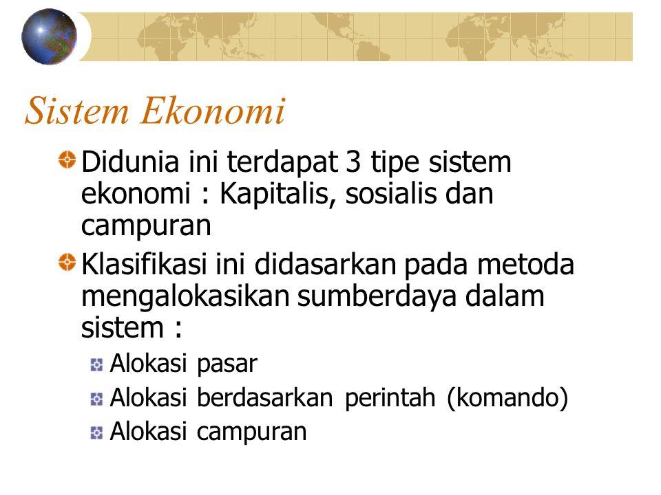 Sistem Ekonomi Didunia ini terdapat 3 tipe sistem ekonomi : Kapitalis, sosialis dan campuran.