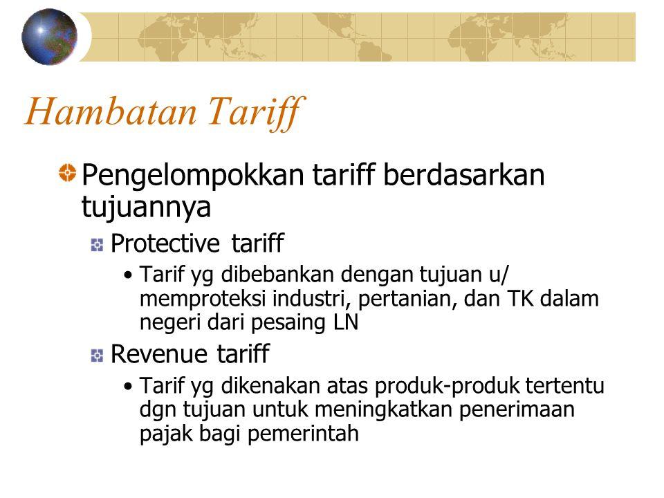 Hambatan Tariff Pengelompokkan tariff berdasarkan tujuannya
