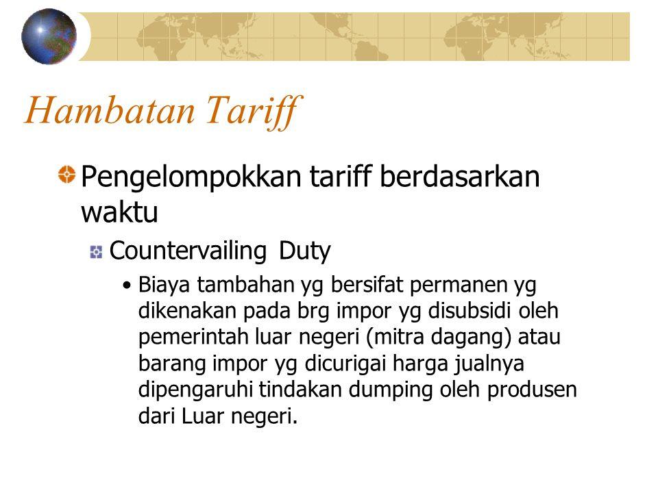 Hambatan Tariff Pengelompokkan tariff berdasarkan waktu