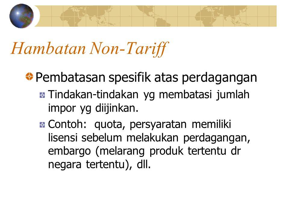 Hambatan Non-Tariff Pembatasan spesifik atas perdagangan