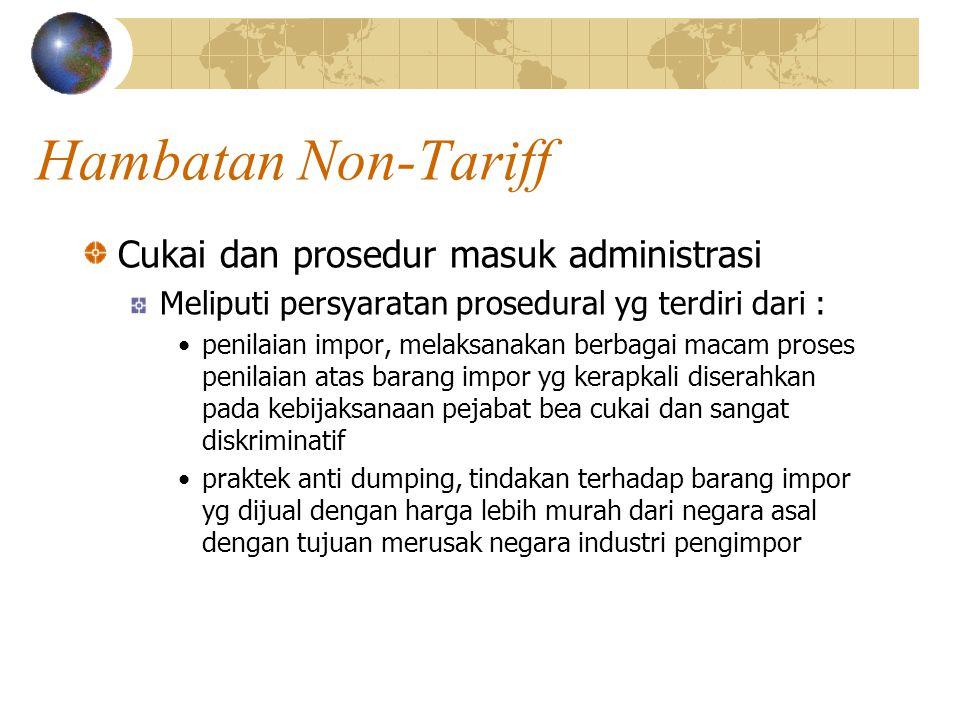 Hambatan Non-Tariff Cukai dan prosedur masuk administrasi