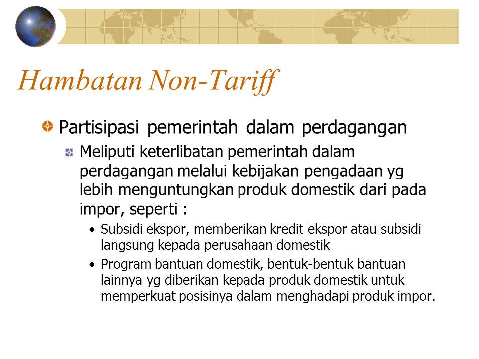 Hambatan Non-Tariff Partisipasi pemerintah dalam perdagangan
