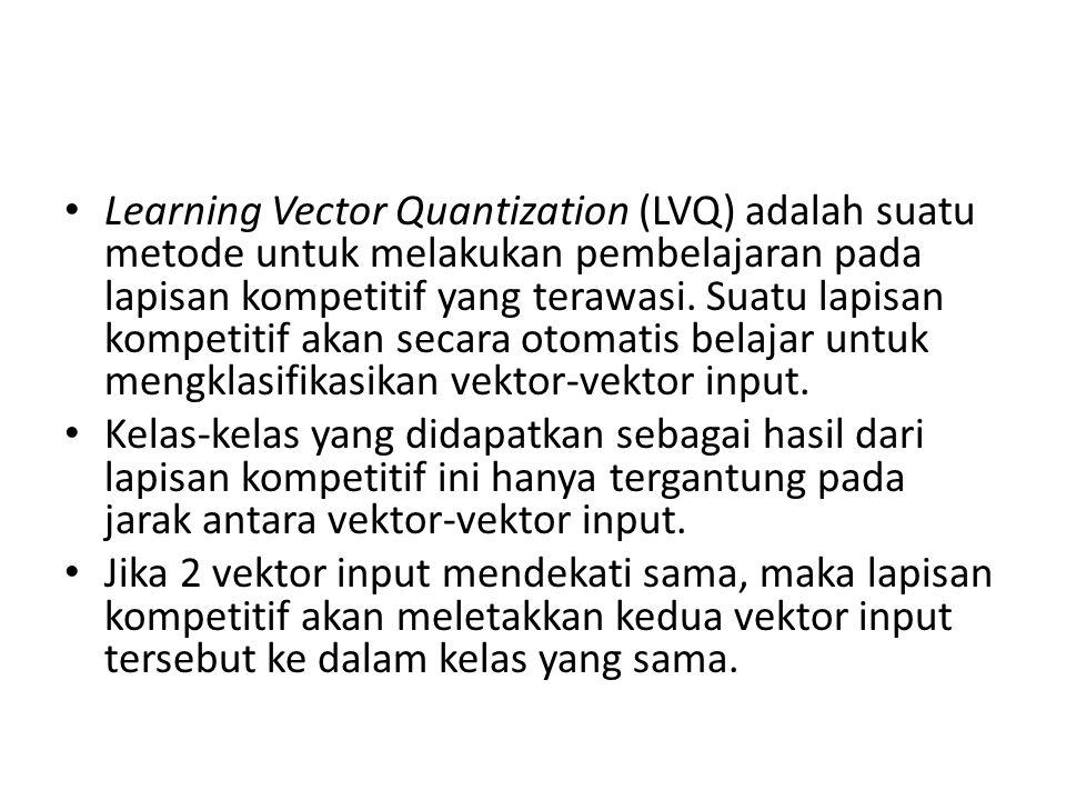 Learning Vector Quantization (LVQ) adalah suatu metode untuk melakukan pembelajaran pada lapisan kompetitif yang terawasi. Suatu lapisan kompetitif akan secara otomatis belajar untuk mengklasifikasikan vektor-vektor input.