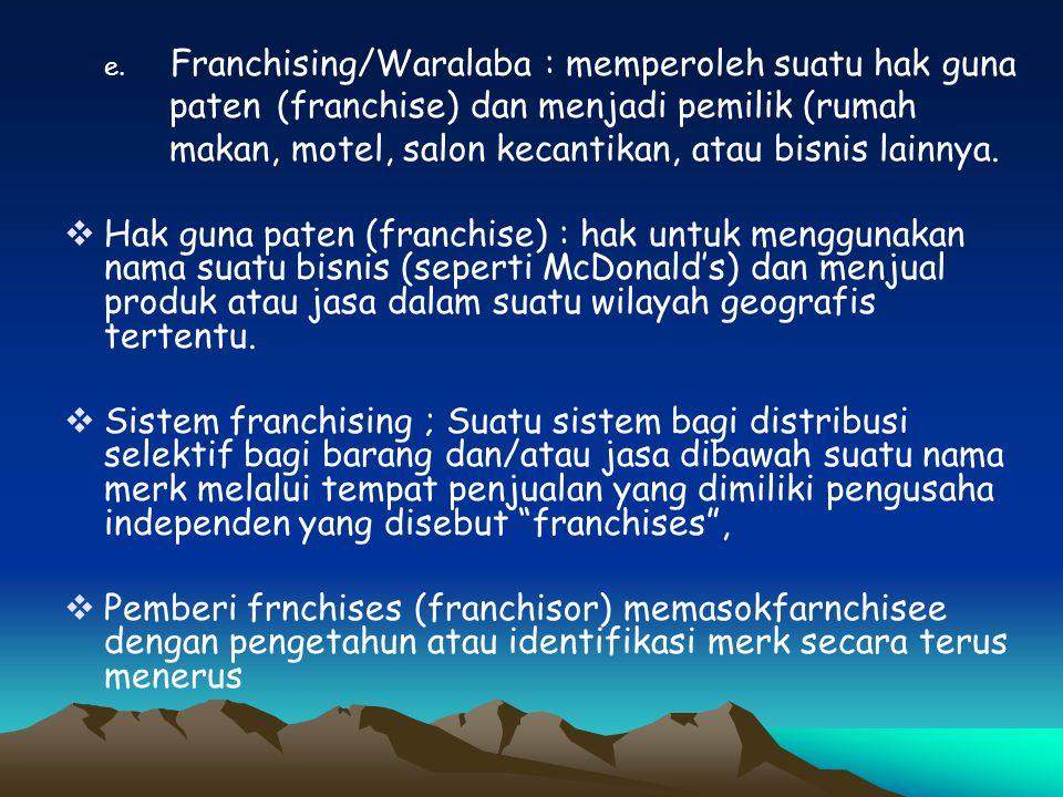paten (franchise) dan menjadi pemilik (rumah