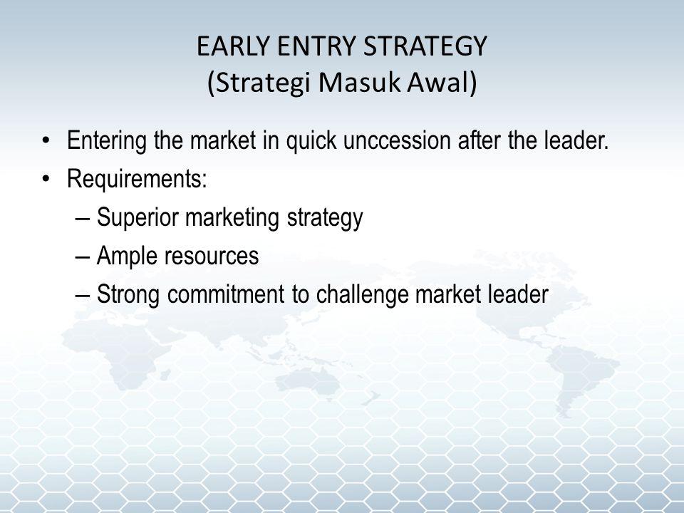 EARLY ENTRY STRATEGY (Strategi Masuk Awal)