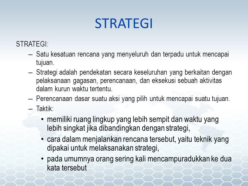 STRATEGI STRATEGI: Satu kesatuan rencana yang menyeluruh dan terpadu untuk mencapai tujuan.