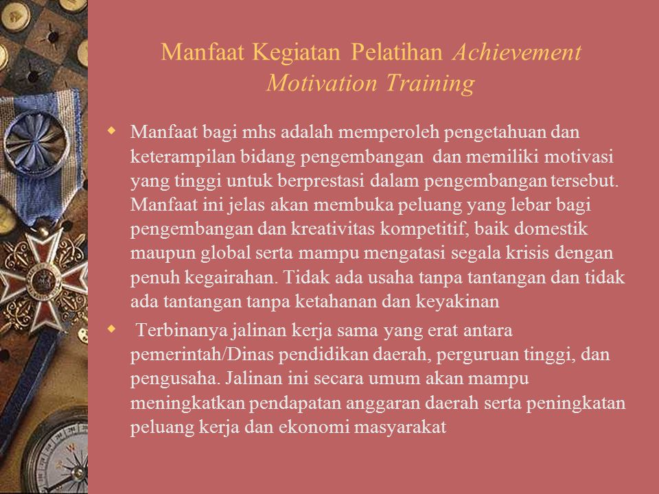 Manfaat Kegiatan Pelatihan Achievement Motivation Training