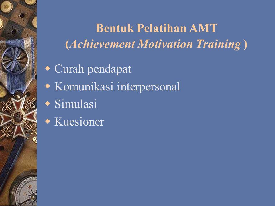 Bentuk Pelatihan AMT (Achievement Motivation Training )