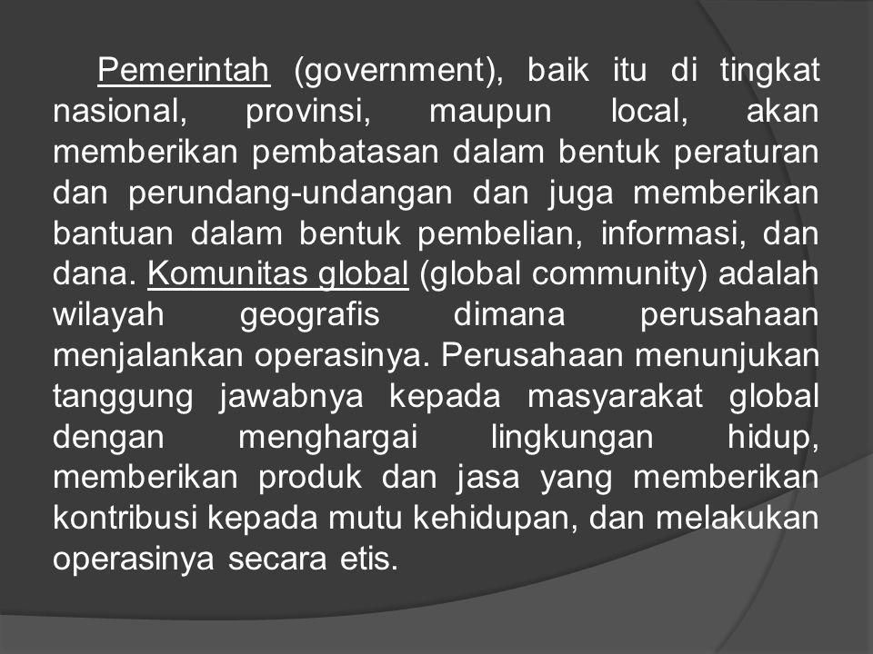 Pemerintah (government), baik itu di tingkat nasional, provinsi, maupun local, akan memberikan pembatasan dalam bentuk peraturan dan perundang-undangan dan juga memberikan bantuan dalam bentuk pembelian, informasi, dan dana.