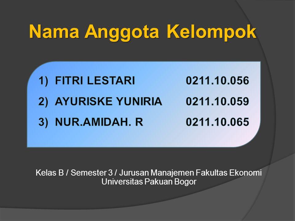 Nama Anggota Kelompok FITRI LESTARI 0211.10.056