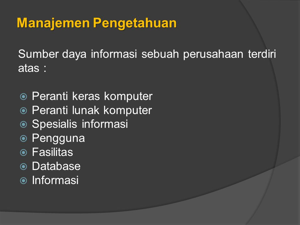 Manajemen Pengetahuan