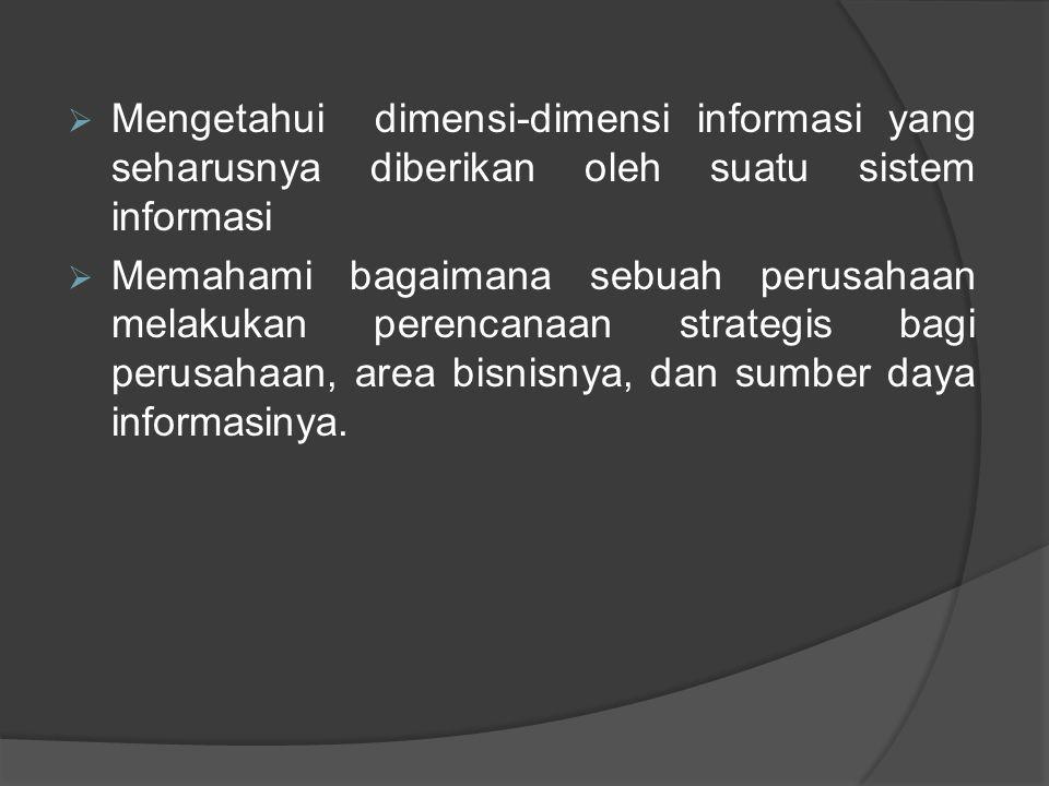 Mengetahui dimensi-dimensi informasi yang seharusnya diberikan oleh suatu sistem informasi