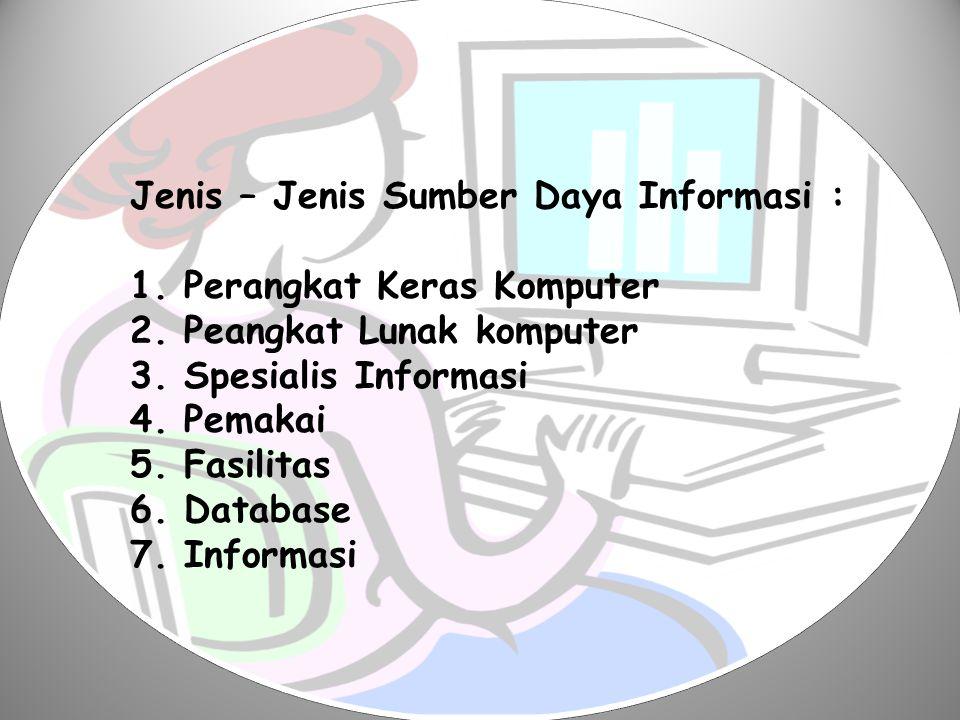 Jenis – Jenis Sumber Daya Informasi :