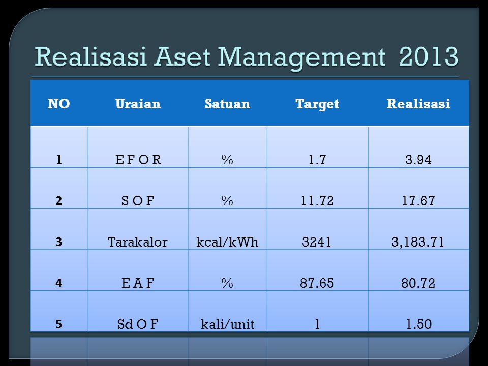 Realisasi Aset Management 2013