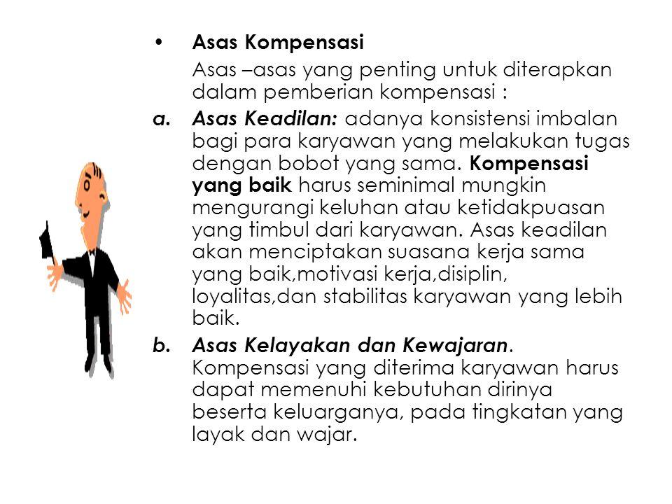 Asas Kompensasi Asas –asas yang penting untuk diterapkan dalam pemberian kompensasi :
