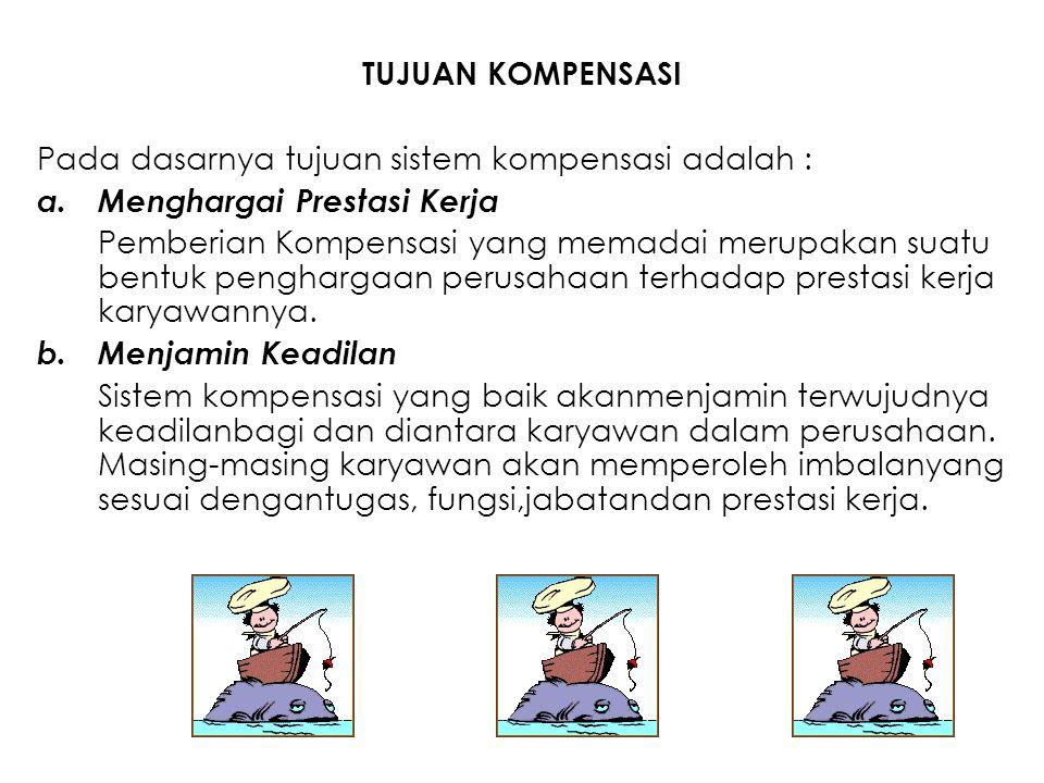 TUJUAN KOMPENSASI Pada dasarnya tujuan sistem kompensasi adalah : Menghargai Prestasi Kerja.