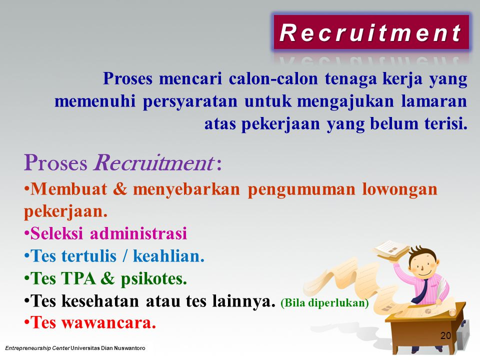 Recruitment Proses Recruitment :