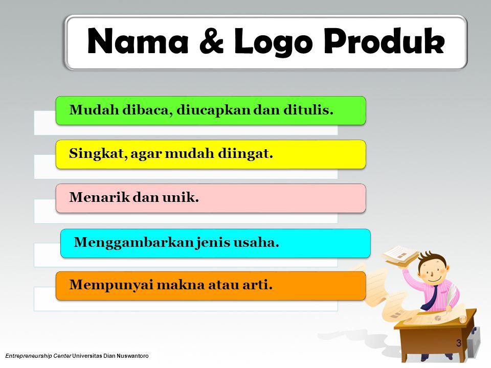 Nama & Logo Produk Mudah dibaca, diucapkan dan ditulis.