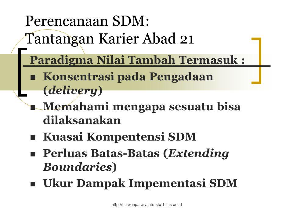 Perencanaan SDM: Tantangan Karier Abad 21