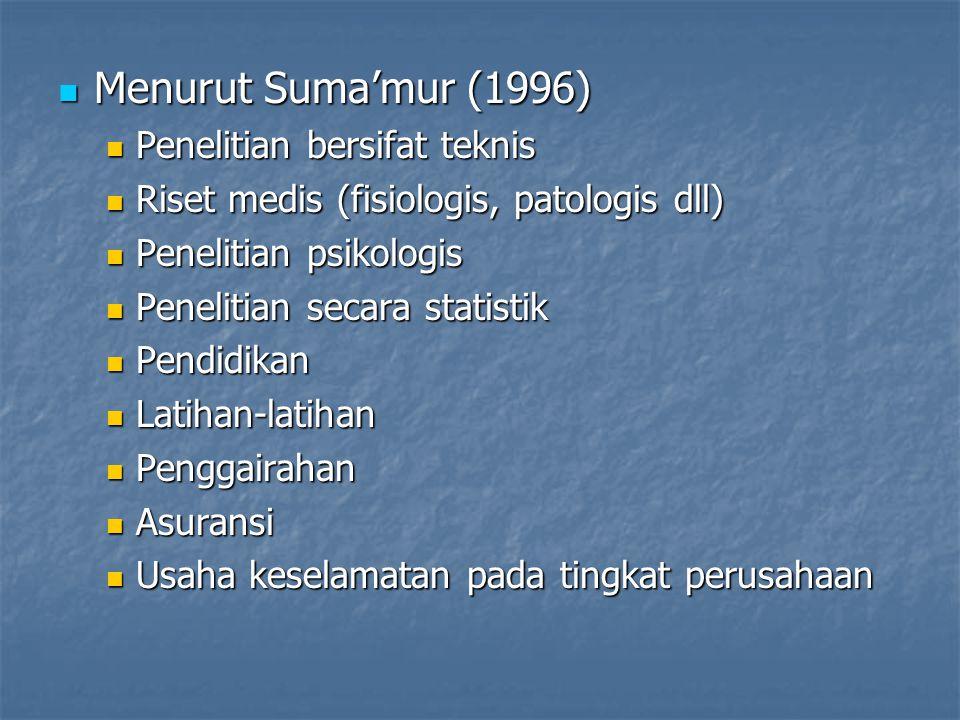 Menurut Suma'mur (1996) Penelitian bersifat teknis