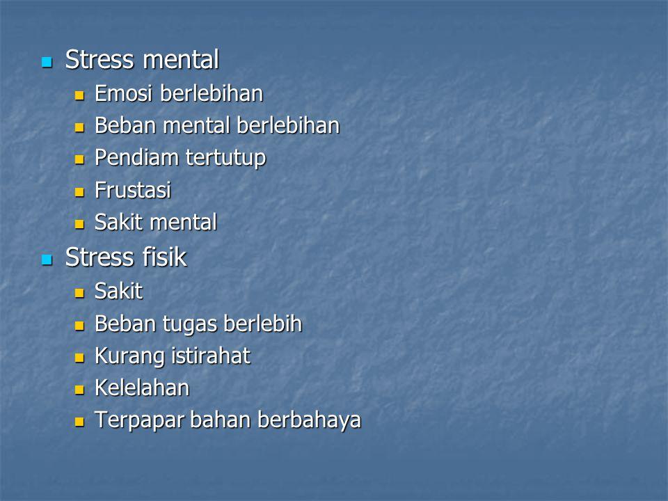 Stress mental Stress fisik Emosi berlebihan Beban mental berlebihan