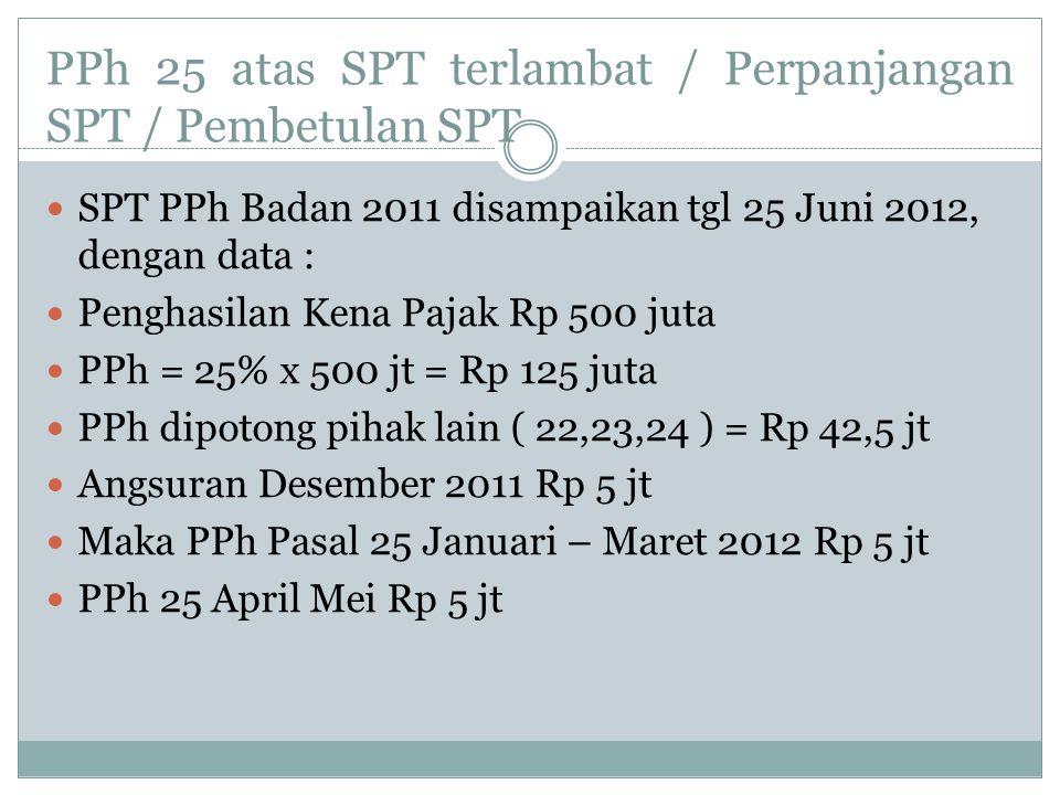 PPh 25 atas SPT terlambat / Perpanjangan SPT / Pembetulan SPT