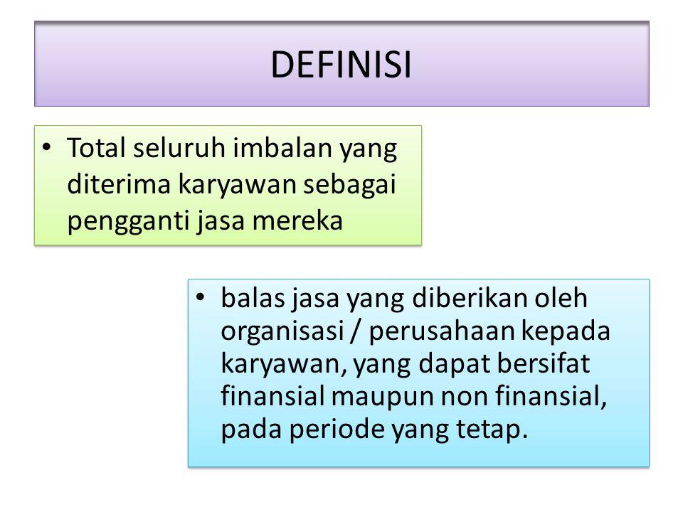DEFINISI Total seluruh imbalan yang diterima karyawan sebagai pengganti jasa mereka.