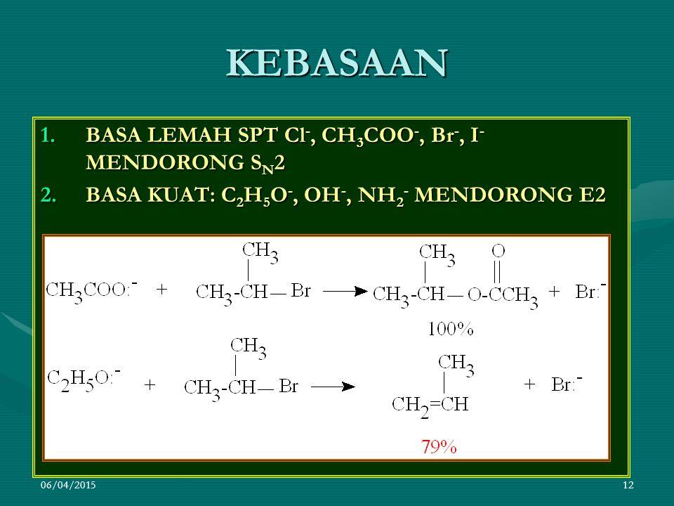 KEBASAAN BASA LEMAH SPT Cl-, CH3COO-, Br-, I- MENDORONG SN2