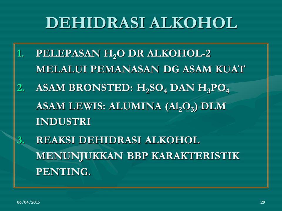 DEHIDRASI ALKOHOL PELEPASAN H2O DR ALKOHOL-2 MELALUI PEMANASAN DG ASAM KUAT. ASAM BRONSTED: H2SO4 DAN H3PO4.