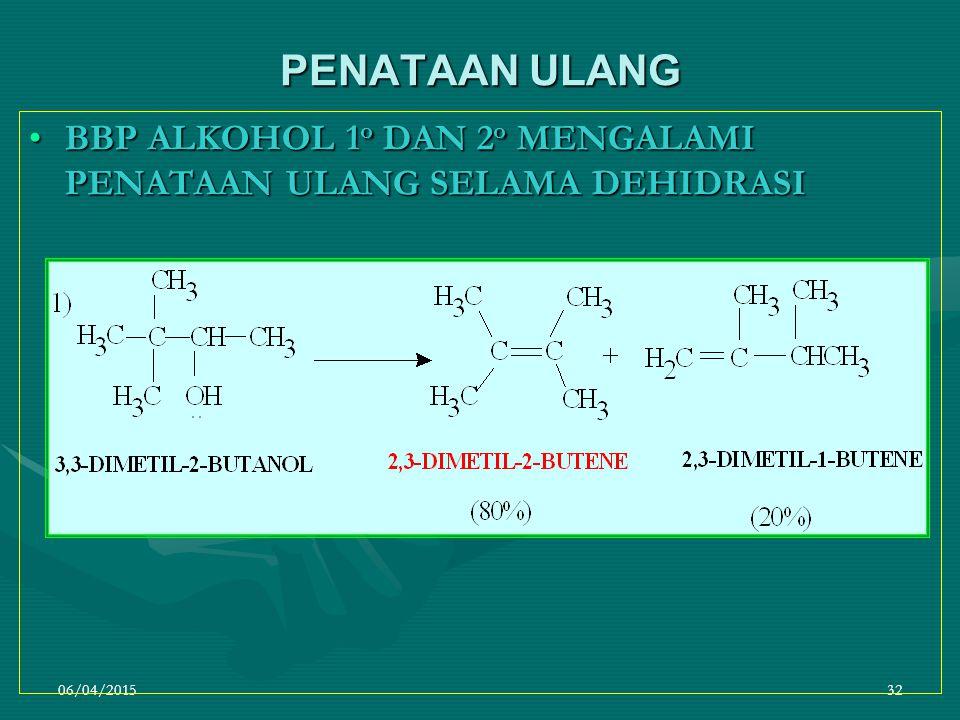 PENATAAN ULANG BBP ALKOHOL 1o DAN 2o MENGALAMI PENATAAN ULANG SELAMA DEHIDRASI 09/04/2017
