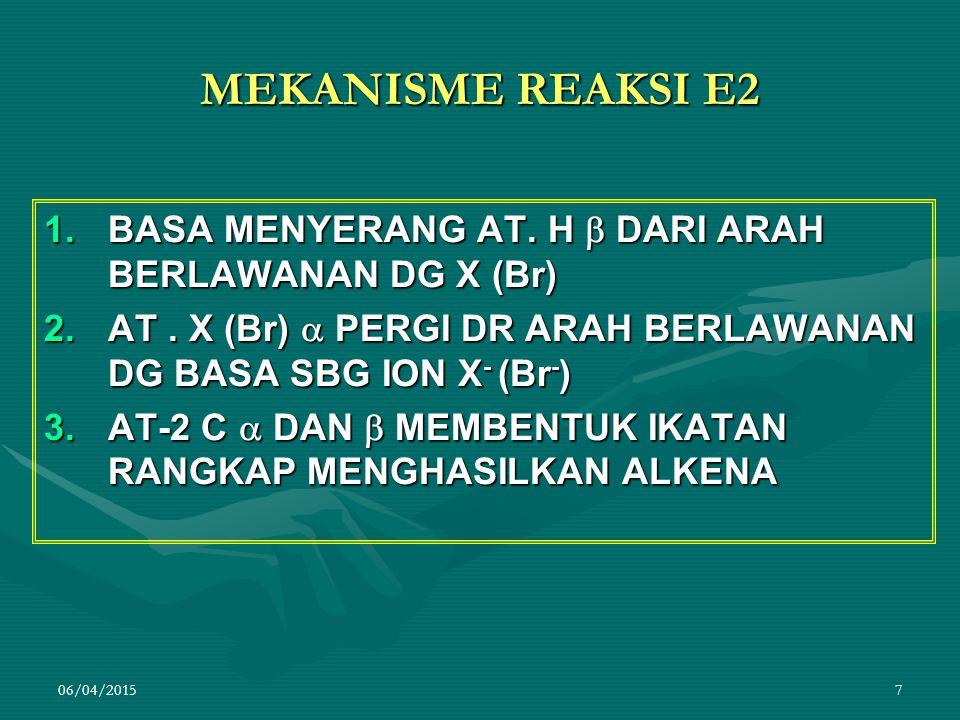 MEKANISME REAKSI E2 BASA MENYERANG AT. H  DARI ARAH BERLAWANAN DG X (Br) AT . X (Br)  PERGI DR ARAH BERLAWANAN DG BASA SBG ION X- (Br-)